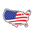 map of the united states with its flag vector image vector image