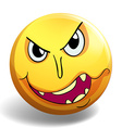 Monster face on yellow ball vector image vector image