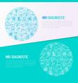 mri diagnostics concept in circle vector image vector image