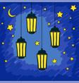 ramadan kareem greeting with lantern on night vector image