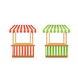 realistic detailed 3d empty striped market stall vector image vector image