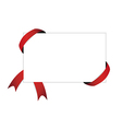 red ribbon and blank white paper with shadow vector image vector image