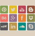 retro social media icons vector image vector image