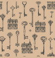 seamless background with old buildings and keys vector image vector image