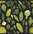 seamless pattern with tasty green plants salad vector image vector image