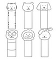set of animal bookmark vector image vector image