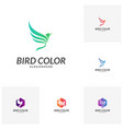 set of bird logo flying bird logo design vector image vector image