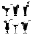 Set of black white cocktails vector image vector image