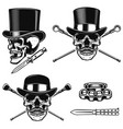 set of gentleman skull in vintage hats design vector image vector image