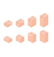set of isometric boxes isolated on white vector image
