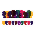silhouettes people multicolored profile men vector image vector image