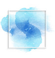 simple frame with blue watercolor stain vector image vector image