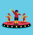 singer on stage with two lady dancing vector image vector image
