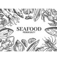 sketch seafood hand drawn fresh fish lobster vector image vector image