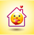 stay home social distancing smiley icon caring vector image vector image