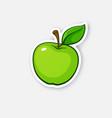 sticker green apple with stem