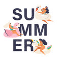 summer time card with pin up girl vector image
