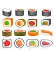 sushi roll icon set cartoon style vector image