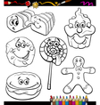sweets set cartoon coloring book vector image vector image