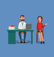 the patient is at the doctors reception vector image vector image