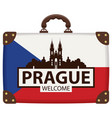 travel bag with czech flag and church of our lady vector image vector image