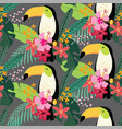 tropical jungle seamless pattern with toucan bird vector image vector image