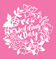 vintage silhouette paper cut wedding day floral vector image vector image
