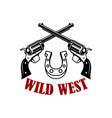 wild west crossed revolvers on white background vector image vector image