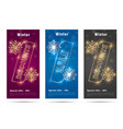 winter flyers with stylized golden shining percent vector image vector image