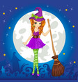 Witch Standing On Halloween Sky vector image