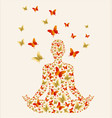 woman doing yoga lotus pose with butterfly vector image