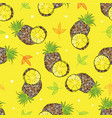 yellow background with scribbles pineapples vector image vector image