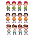 cartoon boys emotions set isolated vector image