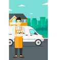 Baker holding box of cakes vector image vector image