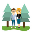 beauty man and woman couple with clothes vector image vector image