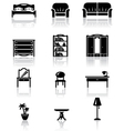 Black and white furniture icons set vector | Price: 1 Credit (USD $1)
