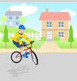 boy playing bicycle around neighborhood vector image vector image