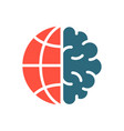 brain with earth colored icon world day vector image