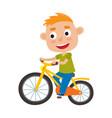 cartoon boy riding a bike having fun riding vector image vector image