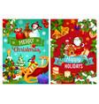christmas gift pine tree and santa sleigh vector image vector image