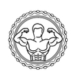 contour stamp border with half body muscle man vector image vector image