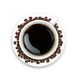 cup with coffee and plate and coffee grain vector image vector image