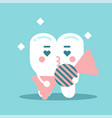 cute enamored cartoon tooth character holding vector image