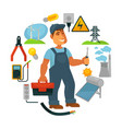 electrician in overalls surrounded with vector image vector image