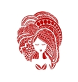 Female face ornate hairstyle for your design vector image vector image