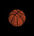 fingerprint basketball symbol black background vector image