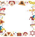 frame with purim holiday flat design icons vector image