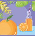 fresh orange juice fruit in botttle with straw in vector image vector image