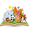 Funny Animal Cartoon in the forest on the book vector image