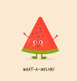 funny cute watermelon character design vector image vector image